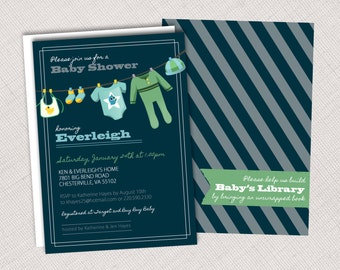Clothesline Baby Shower Invitation