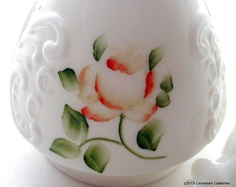 Vintage Milk Glass Scent Bottle with Handpainted Roses Antique 1920's Ladies Vanity Decor