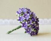 15 mm  25  Mixed  Purple  , White Paper  Flowers