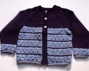 Purple and lilac 2 tone cardigan. Hand knitted toddler girl's cardigan.  To fit 26 inch chest.