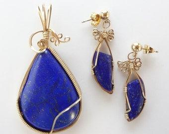 Extratordinary Lapis Luzuli Pendant & Earring Set