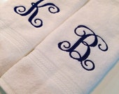 Monogram  Hand Towels Guest Towel Initial Personalized Any Color Letter Great Hostess Bridesmaid Wedding Gift