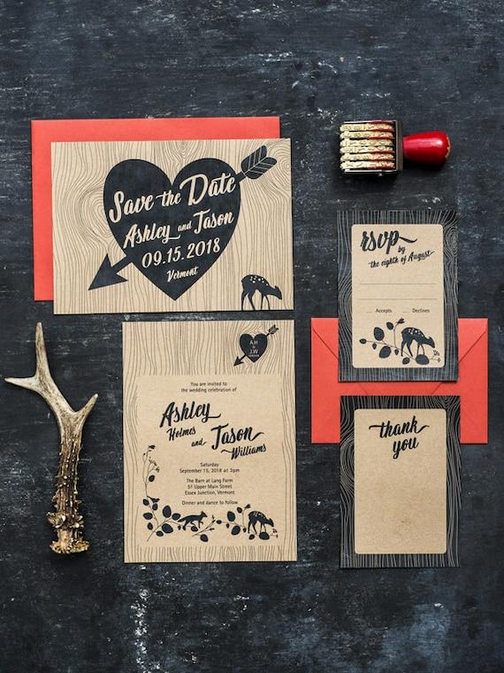 DIY Printable Wedding Invitations Rustic Woodgrain Woodland Set of 4