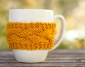 Custom order for JJ Cabled coffee cup cozy golden yellow