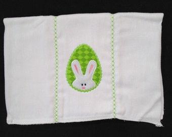Bunny Burpcloth, Bunny diaper, Green egg bunny burp, Bunny egg burpcloth, Baby bunny, bunny shower gift