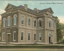 County Clerks Office, Goshen New York Vintage Postcard Historic Building Old Government Building Ephemera Early 1910's
