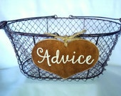 """Large Rustic Wedding """"Advice"""" Sign  WITH WIRE BASKET for Your Rustic, Country, Shabby Chic Wedding-Bridal Showers- Graduation etc."""