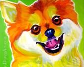 Pomeranian, Pet Portrait, DawgArt, Dog Art, Pomeranian Art, Pet Portrait Artist, Colorful Pet Portrait,  Art Prints, Art, Colorful Pom Art