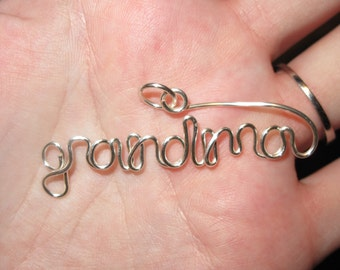 Wire Wrapped Grandma Spelled Pendant MADE to ORDER