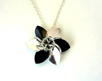 Silver And Black Dragonscale Gothic Flower Necklace