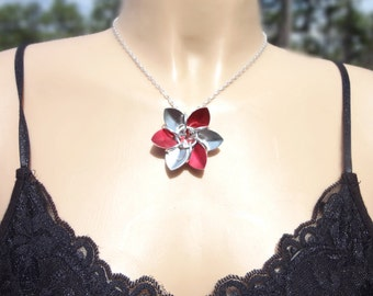 Red And Silver Dragon Scale Flower Necklace