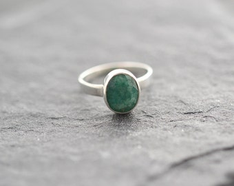 Emerald Sterling Silver Ring, May Birthday, Gemstone Ring, Stacking ring