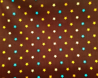 Stars in turquoise orange and yellow, on brown, 1/2 yard, pure cotton fabric