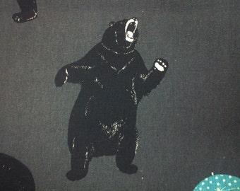 Big bears, dark gray, 1/2 yard, cotton linen blended fabric