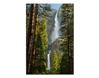 Upper and Lower Yosemite Falls, Landscape Photography, Waterfall,  Green, Spring, Yosemite National Park, Wall Art Print, Home Decor