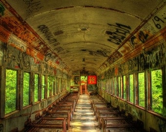 Abandoned Train with Graffiti Color Photograph Shabby Chic Wall Art Print Rust Windows Words Home Decor HDR Grunge Landscape Photograph