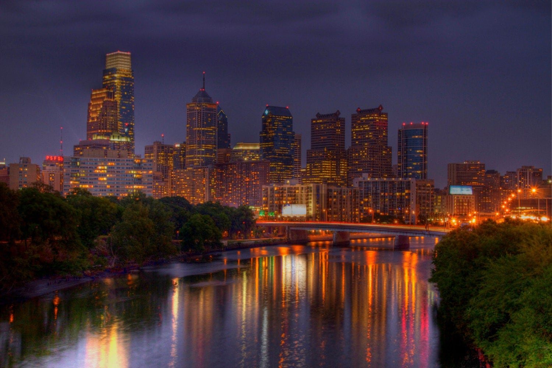 Philadelphia Skyline And Reflection Landscape Photography