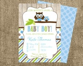 Printable Invitation-Baby Boy Shower Collection-Baby Shower-Owl Baby Shower-Casbury Lane