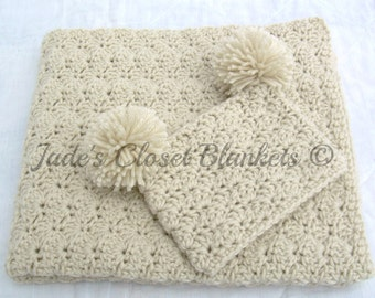 Baby Gift Set, Crochet Baby Crib Blanket and Hat Gift Set, Off White, Oatmeal, Neutral