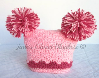 Crochet Pink Baby Hat, Cotton Candy Pink and Raspberry, 0 to 18 months