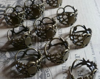 Jewelry Supplies 10 Antique Brass Filigree Adjustable Ring Blanks