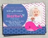 Preppy Whale Girl Birthday Invitation, Girl Preppy Whale Birthday Invitation, Girl Nautical Whale Birthday Invitation-Digital File You Print