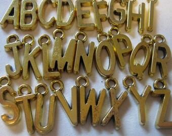 Gold Plated Alphabet Letter Charm Set  26pc.  (1052)