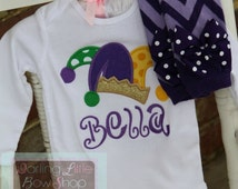 Mardi Gras Outfit - Princess of Mardi Gras - Baby Girl outfit -- purple, green and gold bodysuitand leg warmers -- jester hat