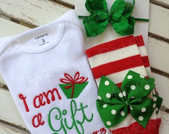 Baby Girl Christmas Outfit - infant bodysuit, ruffle bow & leg warmers - I am a Gift, Psalm 127:3- red and emerald green