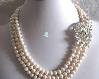 pearl necklace -18-20 inches5-7mm White 3Row Freshwater Pearl X2730 W - Free shipping