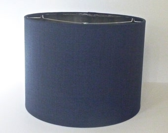 Small Drum Lamp Shade in Navy Blue  Linen Fabric with Metallic Silver Lining