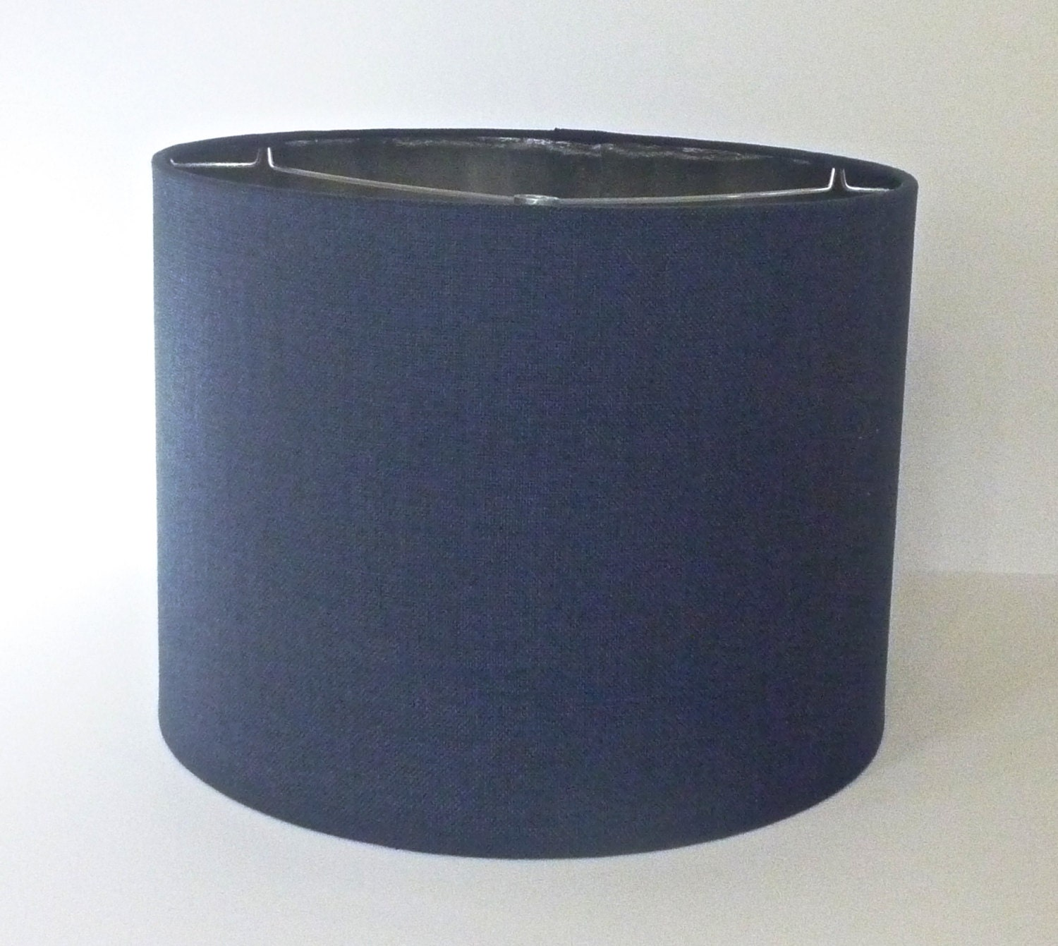 Large drum lamp shade in navy blue linen by lampshadedesigns for Wide drum lamp shade