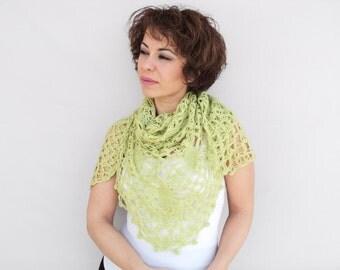 Light Green Shawl - Bridal Crochet Shawl - Green Crochet Triangle Wrap, Green Crochet Scarf, ready to ship