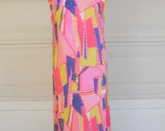 Vintage maxi party dress . Stained Glass . Geometric . open backless 1960's 1970's feathered dress