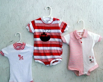 Vintage 70s 80s Baby Rompers . Lot of 2 .  Steamboat, Rocking Horse . 3-6 months