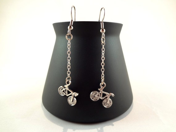 Silver Bicycle Dangle Earrings - Bike Charm Earrings - Silver Dangle Earrings - Silver Jewelry - FREE SHIPPING