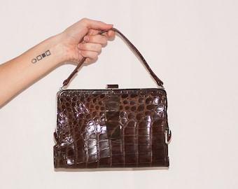 Vintage Crocodile 1950s Handbag