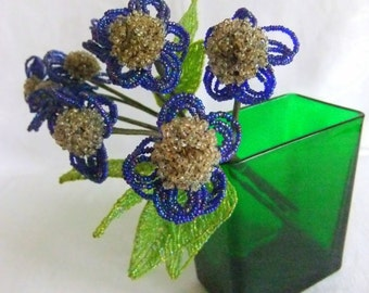 3 Vintage Glass Seed Bead Flower Stems - French, Forget Me Not, Blue, Green, Silver, Hand Made, Leaf, Beaded Flower, Mid Century
