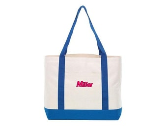 Monogrammed Personalized Embroidered Polyester Beach Bag Tote - Durable FREE Personalization