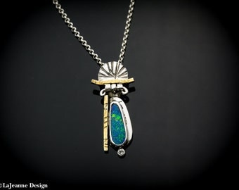 Indulgence - Australian Boulder Opal with Diamond & 24K, Sterling Silver Necklace