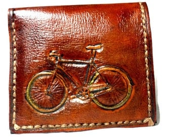 Bike Wallet - Leather - Bicycle Wallet - Bicycle Gift - Cycling - Sport Gift - Triathelon - Steampunk Gift, holds 8 cards has 1 bill slot