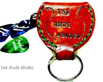Big Lebowski - Guitar Pick Key Chain - Music Gift -  the Dude Abides - Guitar Gift - Dad Gift - Boyfriend Gift - Key Fob - keychain husband