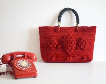 Cyber Monday Sale -Handmade Burgundy Knit Bag, Celebrity Style,Crochet moms bag,satchel, fashion
