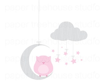 Clip Art Set - Owl, Moon and Stars - Pink and Gray Print - 5 Print Ready Files - JPG and PNG Format - ID 243