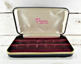 Vintage Mens Jewelry Box Case, Cufflinks Box, STETSON Fifth Avenue, Black Red Velvet Jewelry Box, 1950s Jewelry Box, Mens Jewelry Storage