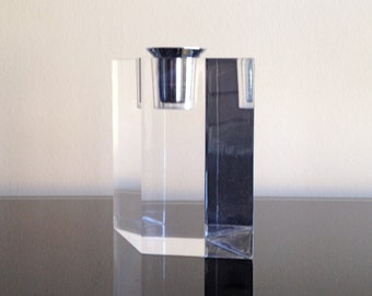 Mod Lucite Block Candle Holder