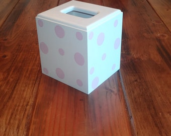 Childrens Tissue Cover-White with Light Pink Polka Dots-Customizations Welcomed