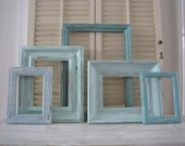 Shabby Chic Frame Gallery Coastal Cottage Collection of 5 - 4 Vintage Wood & 1 Composite  in Distressed Faded Shade of Aqua, Mint and Blue