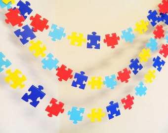 Puzzle Piece Garland - Missing Piece Adoption decoration- Autism Awareness Decor - 10 foot Puzzle piece garland - Your color choices