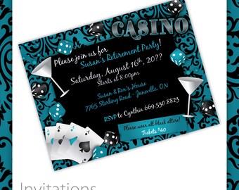 Casino Party Invitations - Casino Lush . Casino Birthday Invitation, Casino Event Invitation, Casino Invite, Printable Casino Invitation